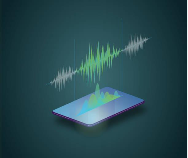 Phone audio Phone audio recording speech recognition stock illustrations