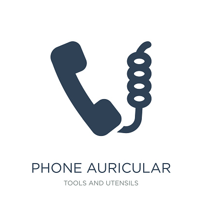 phone auricular with cable icon vector on white background, phone auricular with cable trendy filled icons from Tools and utensils collection, phone auricular with cable vector illustration