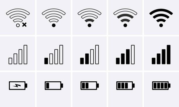 Phone bar status Icons, battery Icon, wifi signal strength Phone bar status Icons, battery Icon, wifi signal strength. Vector for mobile phone battery stock illustrations