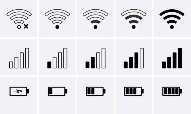 Phone bar status Icons, battery Icon, wifi signal strength Phone bar status Icons, battery Icon, wifi signal strength. Vector for mobile phone low stock illustrations