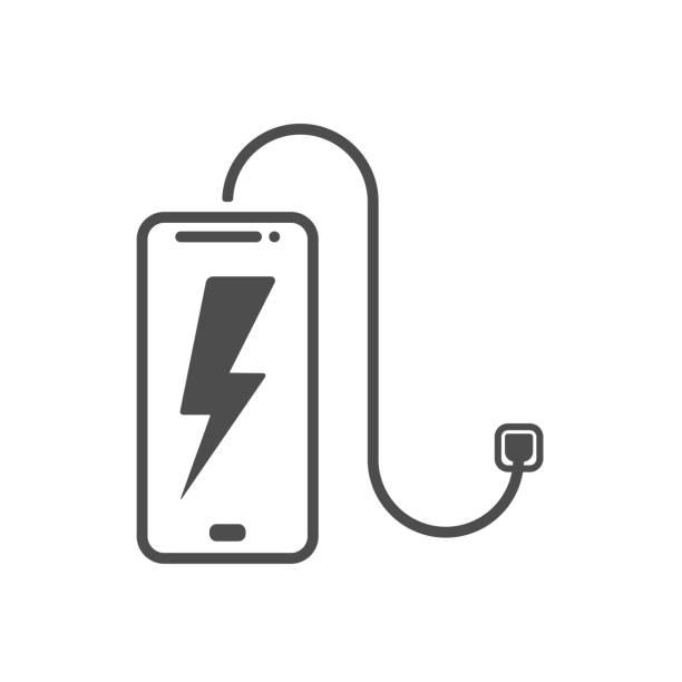 ilustrações de stock, clip art, desenhos animados e ícones de phone battery black charger technology vector illustration batteries icon set - carregar
