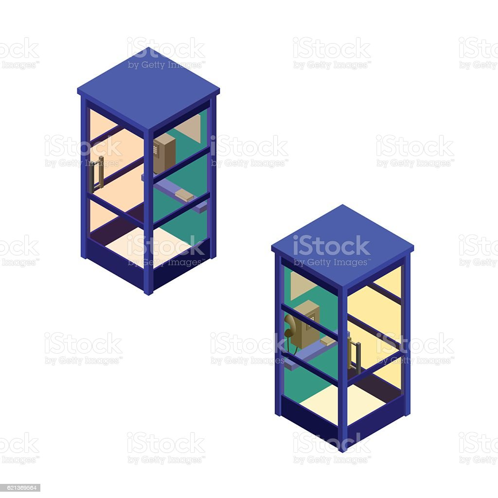 Phone booth set. Vector illustration.Isometric style. vector art illustration