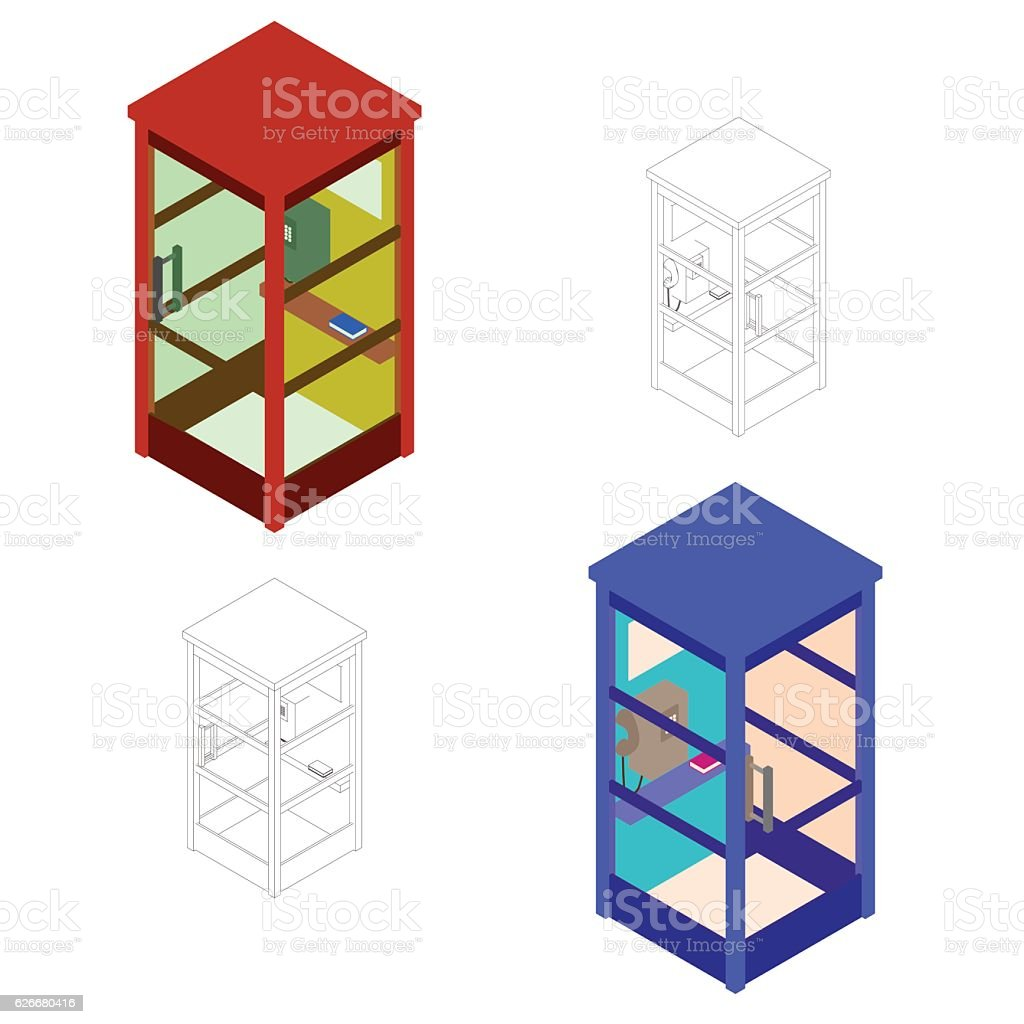 Phone booth set. Vector illustration.Isometric.Flat style. vector art illustration