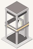 A vector illustration of an isometric phone box.