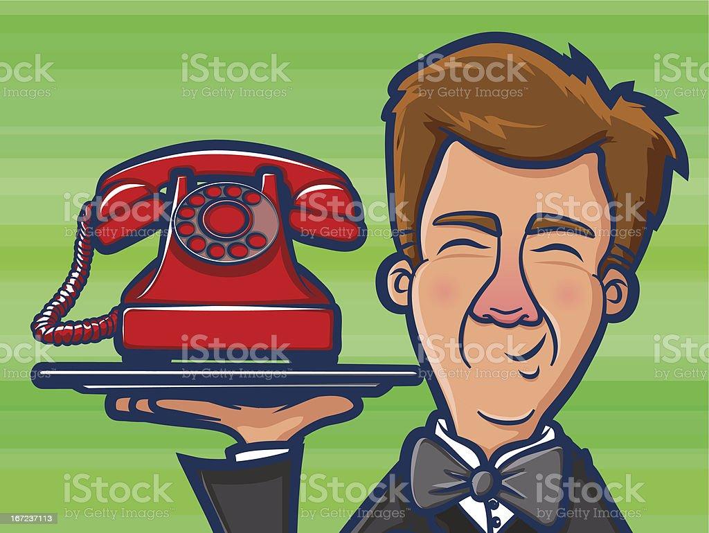 Phone Butler Cartoon vector art illustration