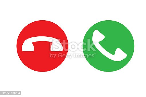 istock Phone buttons. Accept and reject the call. Green and red mobile phone button. Vector illustration. Stock image. 1277993294