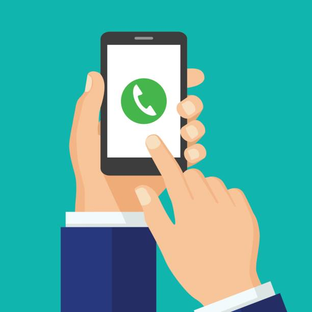 Anruf-Taste auf Smartphone-Bildschirm. – Vektorgrafik