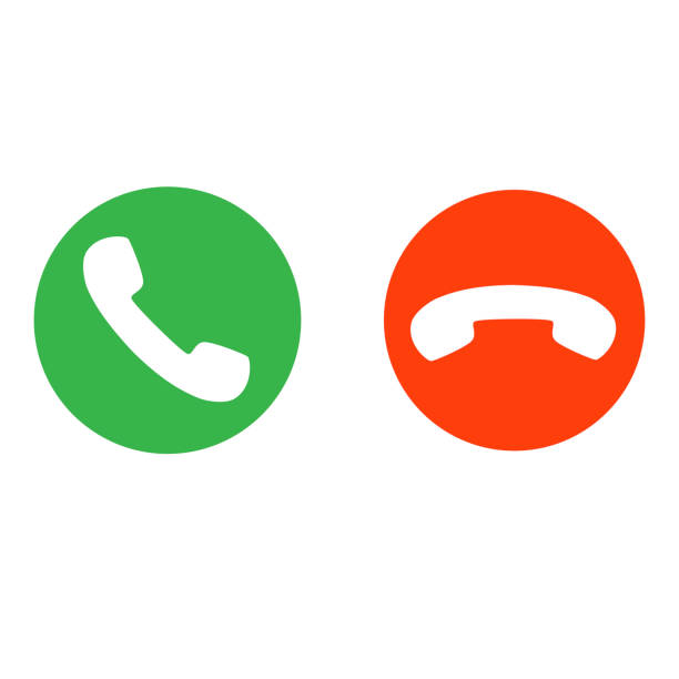 telefon görüşmesi düğmeleri vektörü kabul eder ve reddeder - telefon kullanımı stock illustrations