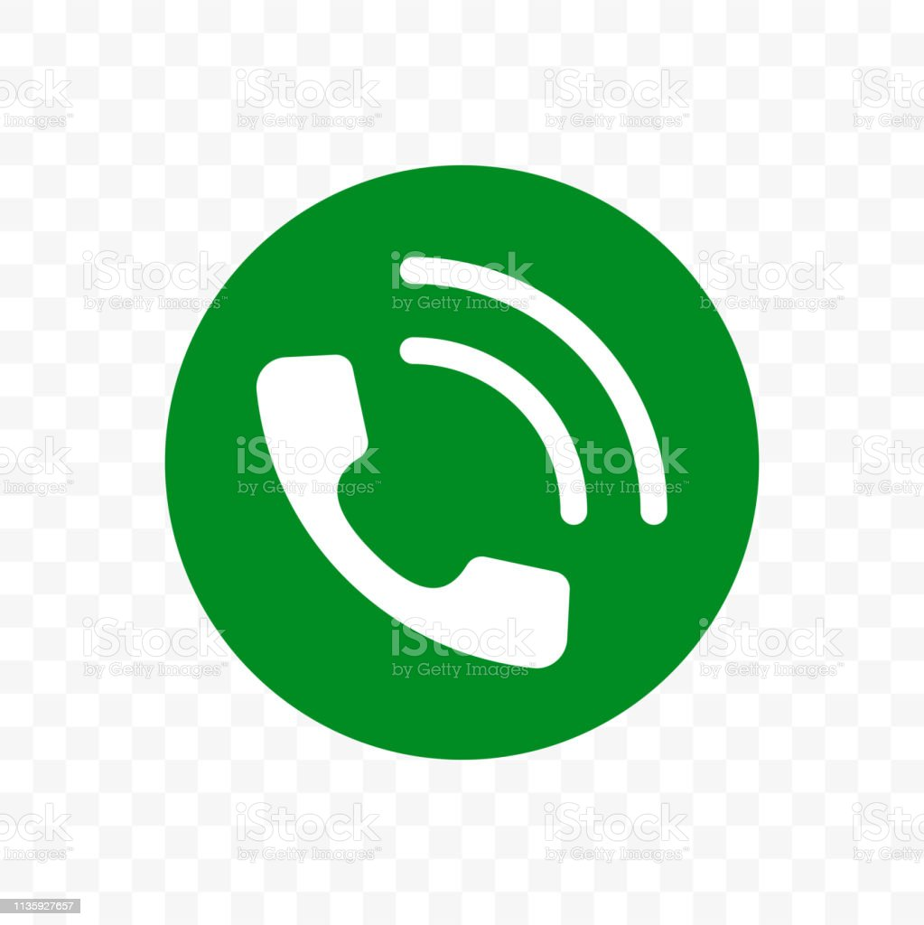 Phone Call Icon Vector Phone Receiver In Green Circle App Sign Stock