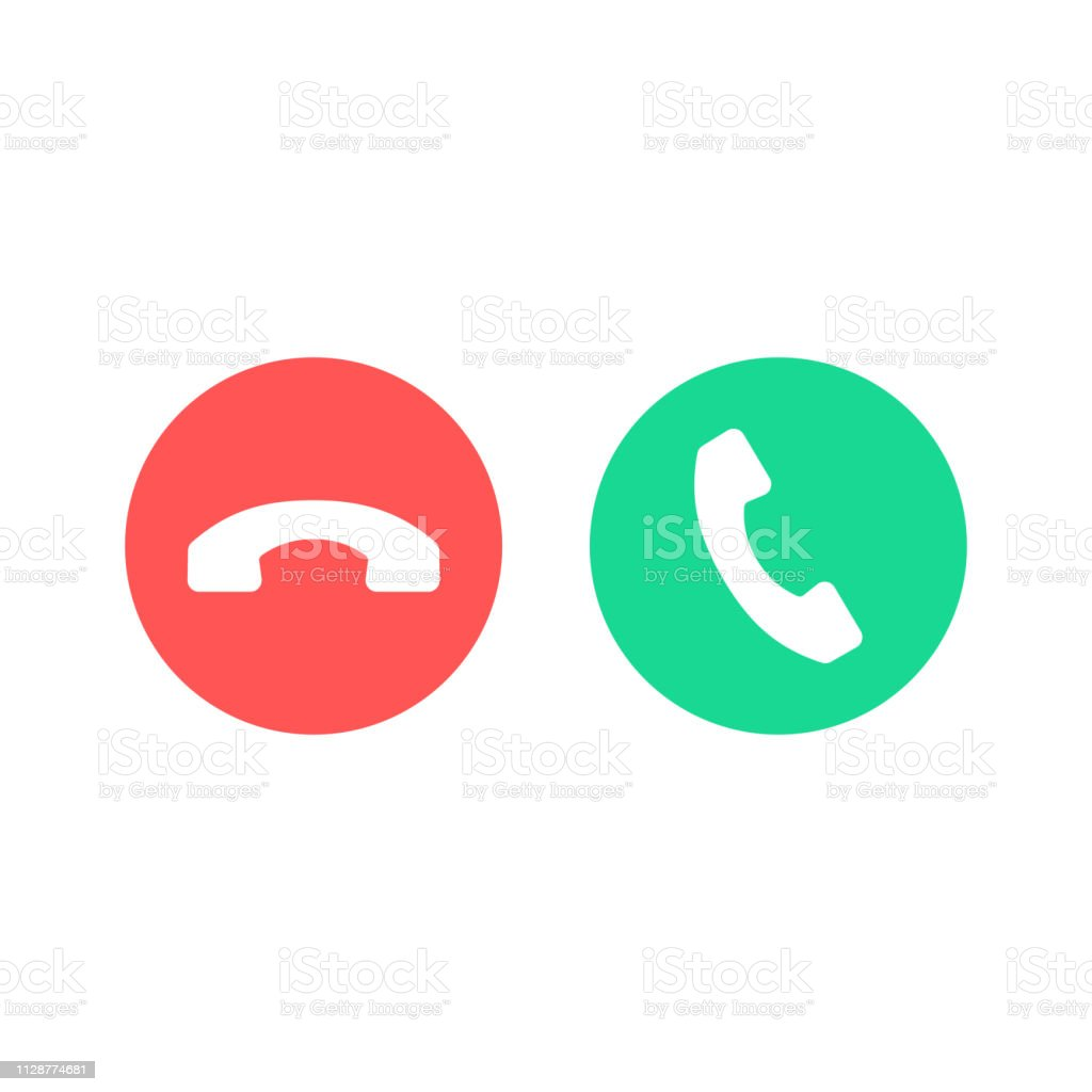 Phone call icons. Accept call and decline button. Green and red buttons with handset silhouettes. Vector icons set - Royalty-free A usar um telefone arte vetorial