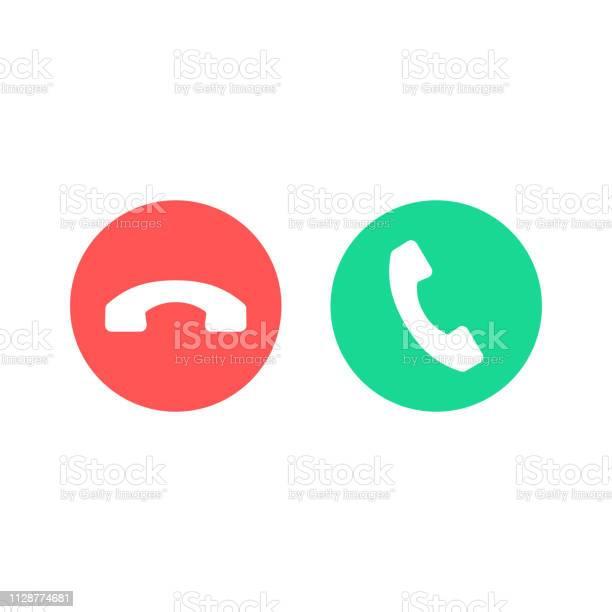 Phone Call Icons Accept Call And Decline Button Green And Red Buttons With Handset Silhouettes Vector Icons Set - Arte vetorial de stock e mais imagens de A usar um telefone