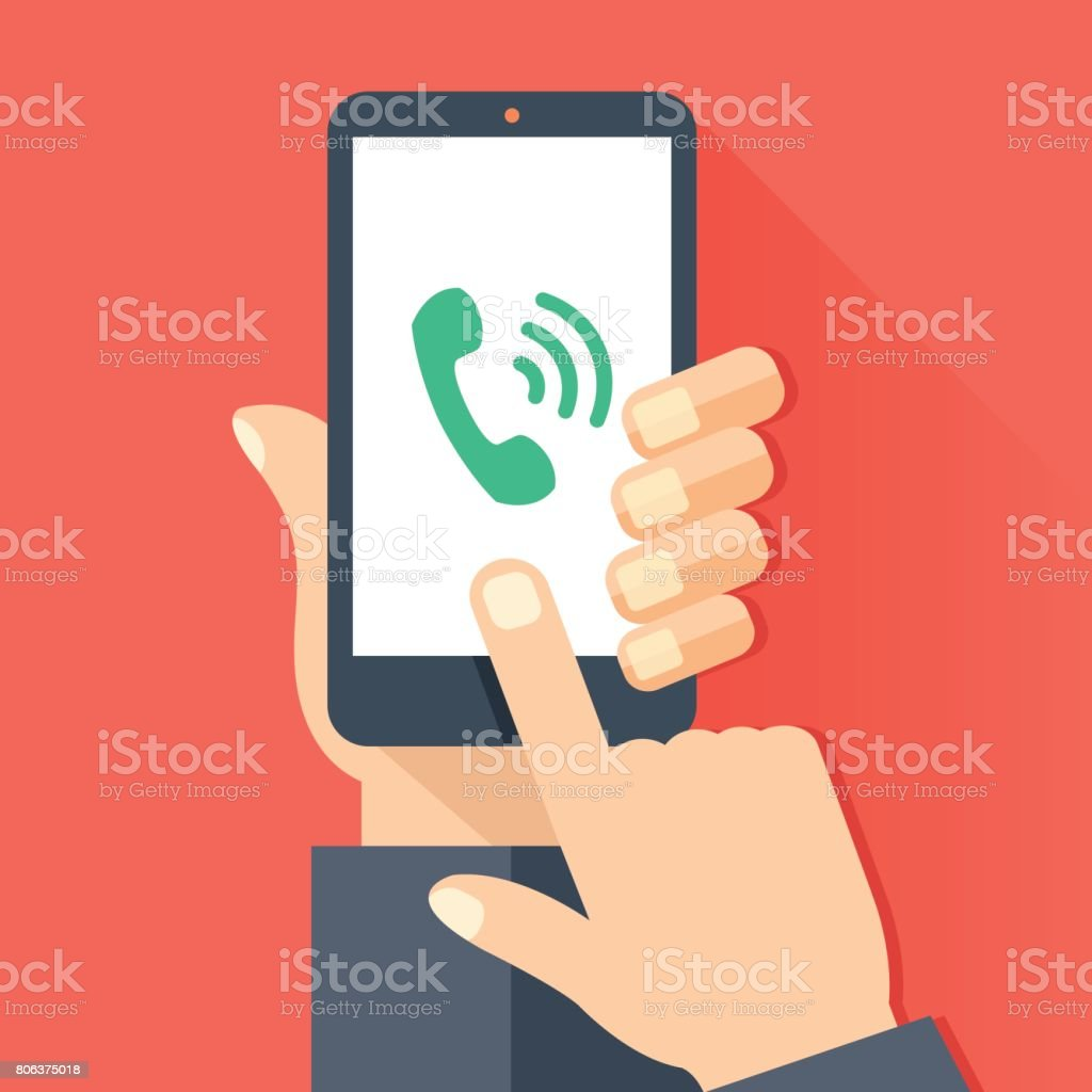 Phone call, incoming call, answer, ringing phone concepts. Hand holding smartphone with green handset icon and waves, Finger touching screen. Modern flat design vector illustration vector art illustration