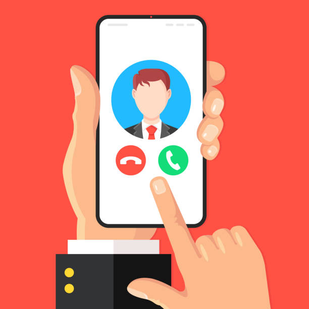 Phone call. Incoming call on smartphone screen. Hand holds mobile phone with accept call and decline buttons. Answer the phone concept. Modern flat design. Vector illustration vector art illustration
