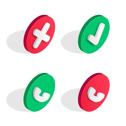 Phone Call isometric icon set