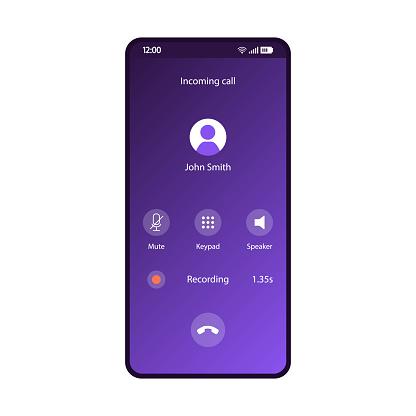 Phone calls app smartphone interface vector template
