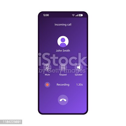 Phone calls app smartphone interface vector template. Mobile application page purple design layout. Incoming call, voice recording on screen. Mute, keypad, speaker buttons on display. Flat gradient UI