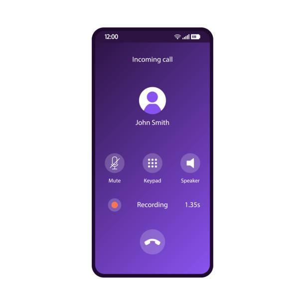 ilustrações, clipart, desenhos animados e ícones de modelo de vetor de interface de smartphone de aplicativo de chamadas telefônicas - call