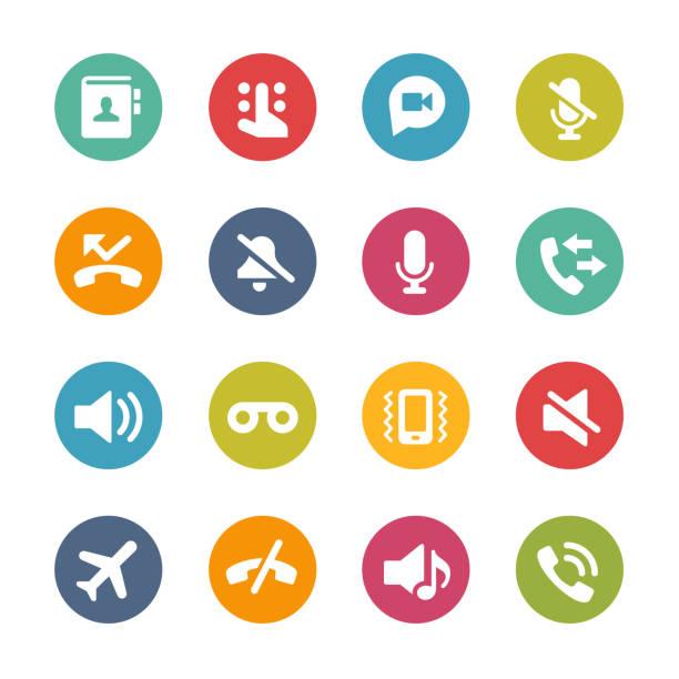 phone calls interface icons // fresh colors series - virtual meeting stock illustrations
