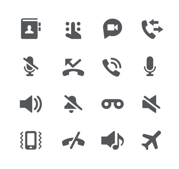 Phone Calls Interface Icons Vector icons for your digital or print projects. zoom stock illustrations