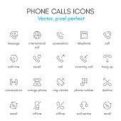 Phone calls theme, line icon set.