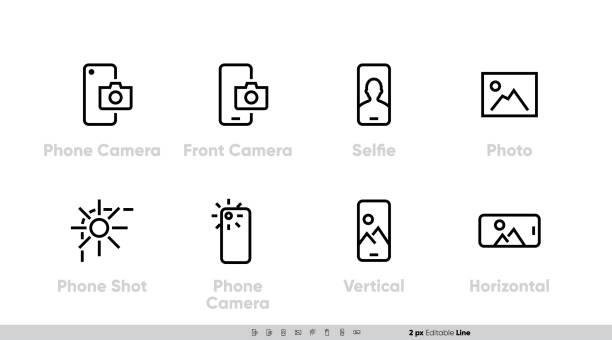Phone Camera, Front and Back Lens icon set. Selfie, Shot, Vertical, Horizontal Photo. Editable Line vector vector art illustration