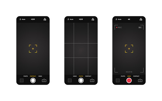 Phone camera interface. Mobile app application. Photo and video shooting. Vector illustration graphic design.