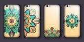 Phone case design set. Vintage decorative elements.