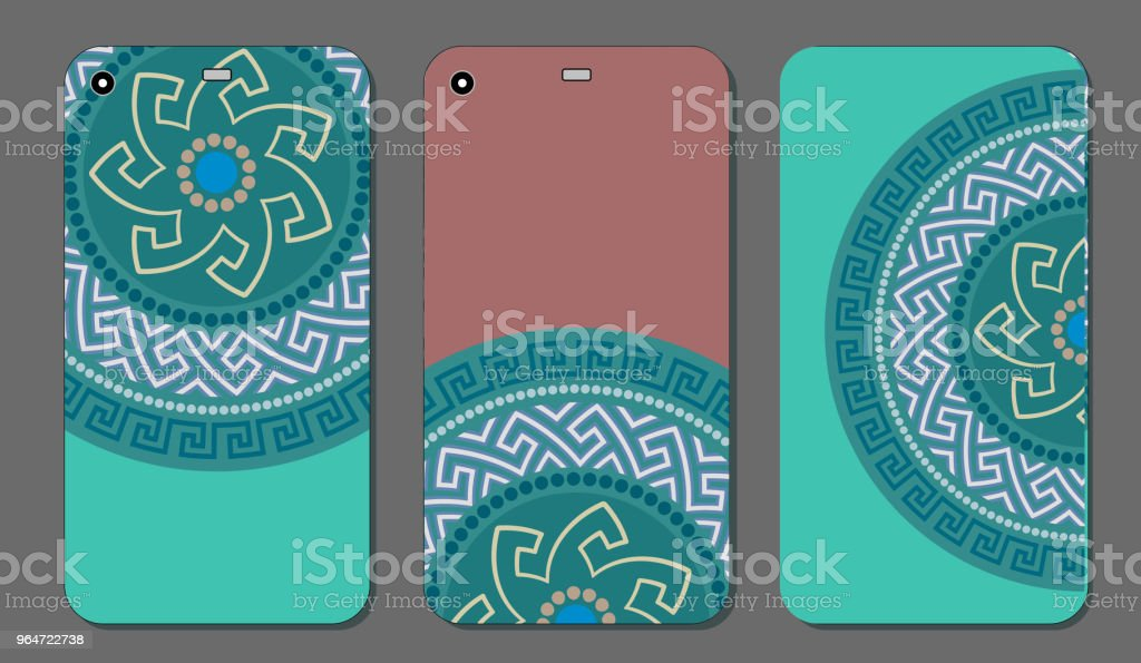 Phone case set with Greek circular ornament. Vintage decorative elements. Vector illustration. royalty-free phone case set with greek circular ornament vintage decorative elements vector illustration stock vector art & more images of abstract