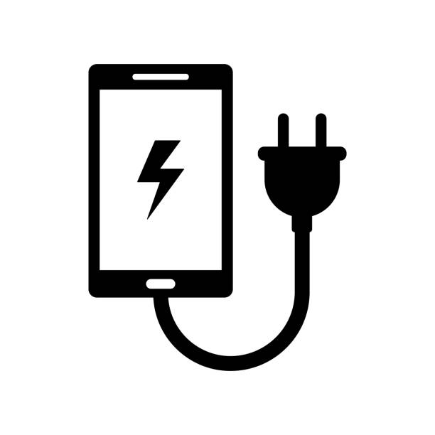 phone charger sign isolated vector phone charger sign isolated vector cell phone charger stock illustrations