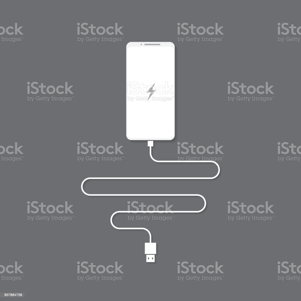 phone charging with cable usb vector art illustration