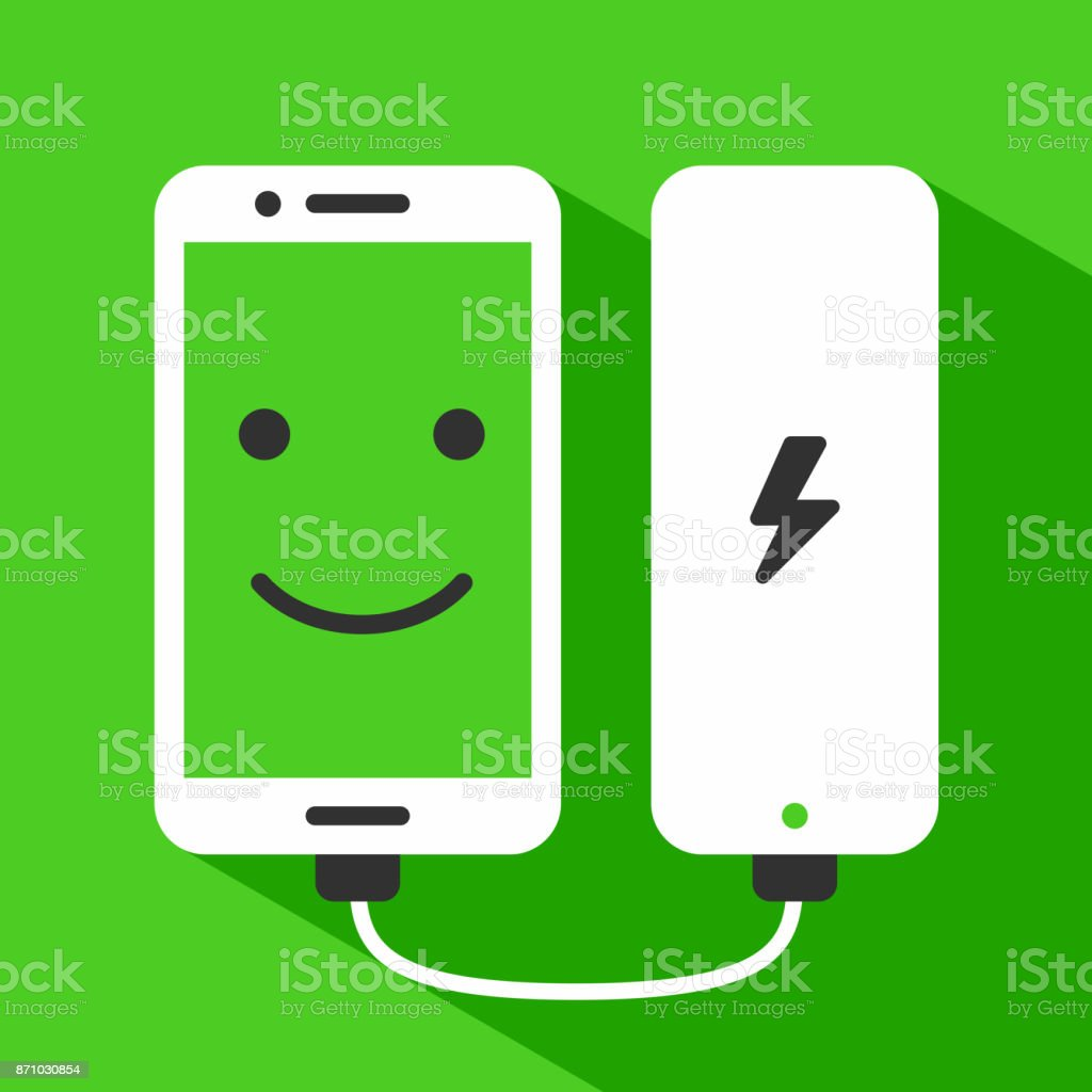 Phone charging with power bank vector art illustration
