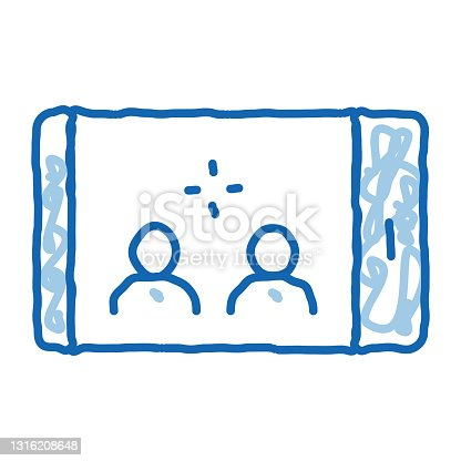 istock Phone Conference doodle icon hand drawn illustration 1316208648