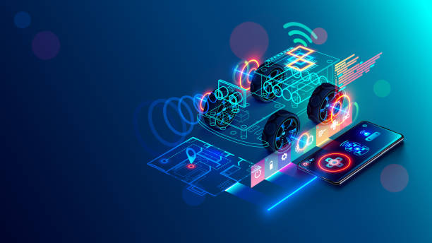 Phone controls the DIY robot car on microcontroller arduino. Teaching construction and programming to children. Smartphone wireless remote control of an electronic toy via internet. Conceptual banner. vector art illustration