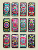 Phone cover collection, boho style pattern. Vector background.