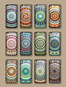 Phone cover collection, boho style pattern.