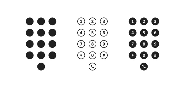 Phone dial icon. Smartphone number pad element. Mobile screen keypad interface in vector flat style.