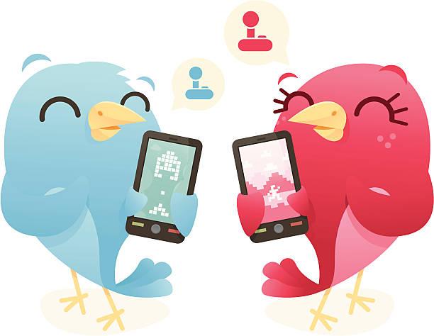 Phone Gaming Birds vector art illustration