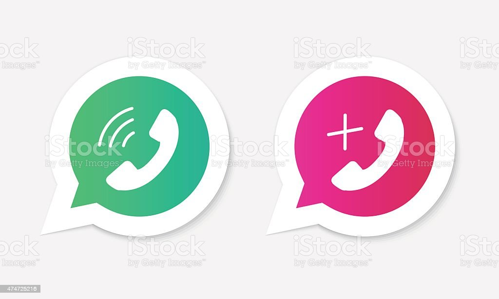 Phone handset icons in speech bubbles. vector art illustration