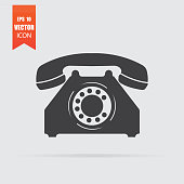 Phone icon in flat style isolated on grey background.