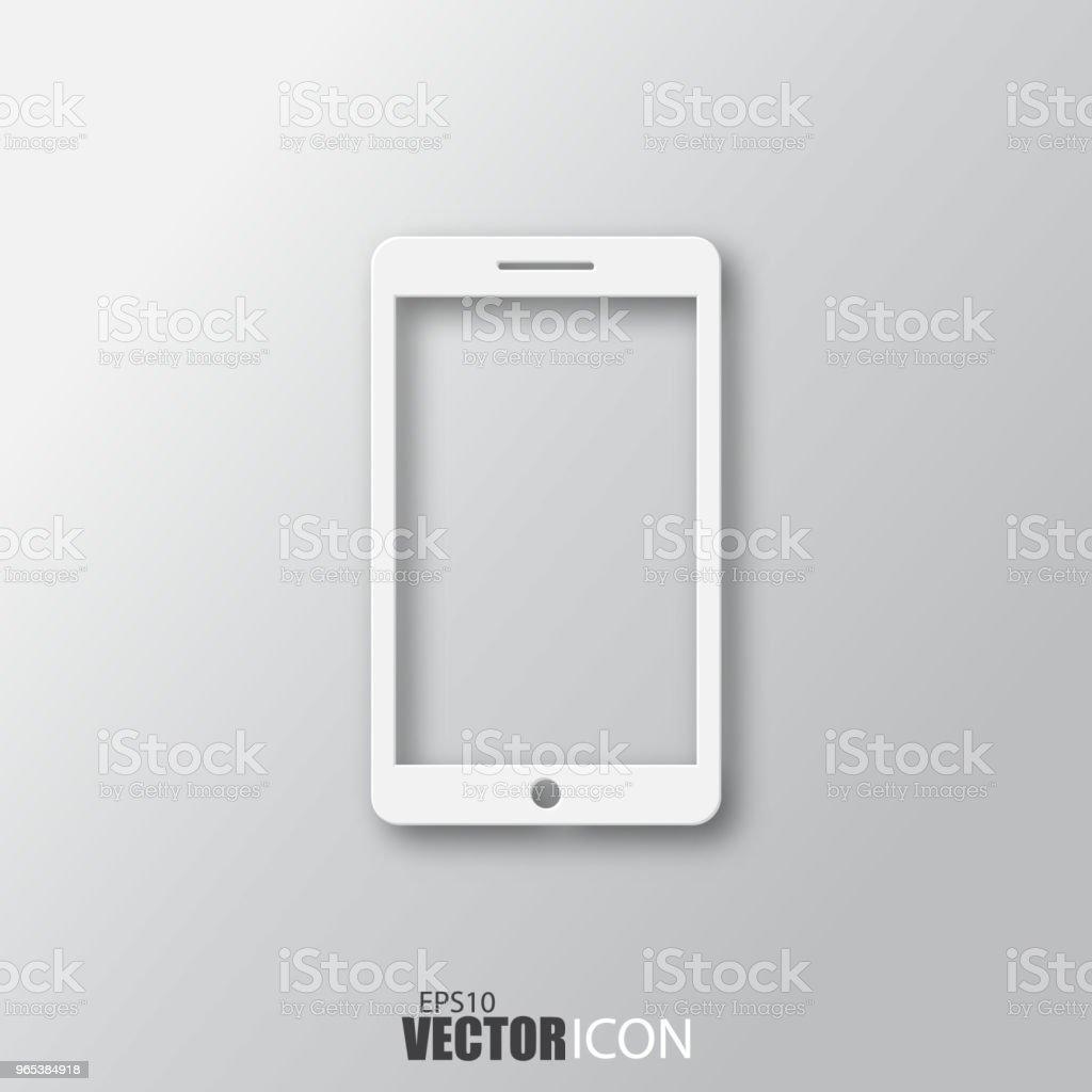 Phone icon in white  style with shadow isolated on grey background. phone icon in white style with shadow isolated on grey background - stockowe grafiki wektorowe i więcej obrazów biały royalty-free