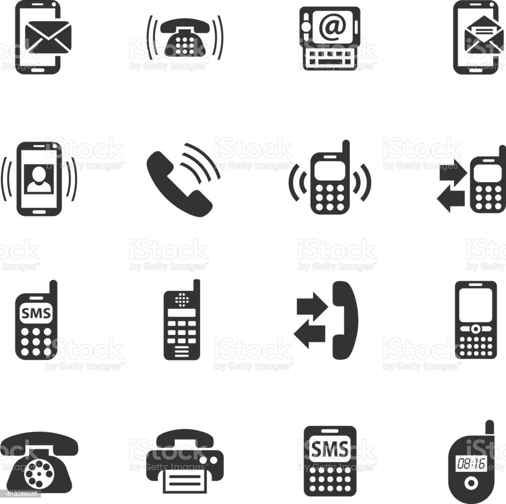 phone icon set vector art illustration