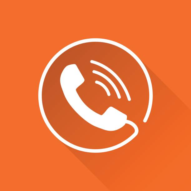 Phone icon vector, contact, support service sign isolated on round orange background with long shadow. Telephone, communication icon in flat style. vector art illustration
