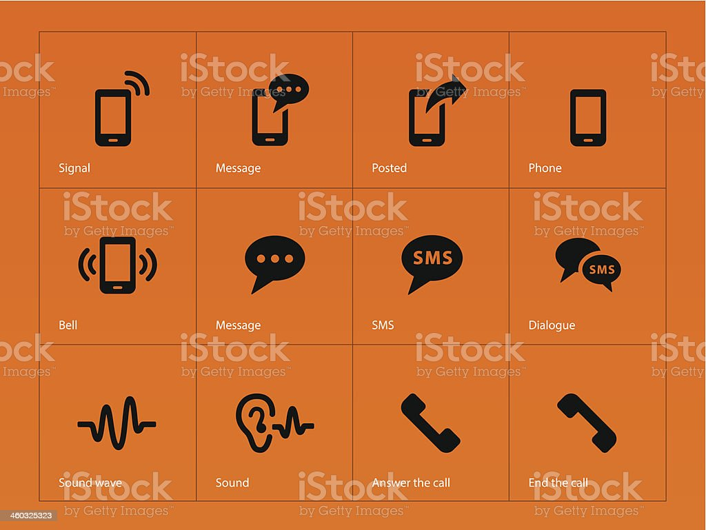 Phone icons on orange background.