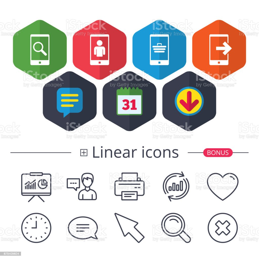 Phone icons. Video call, online shopping. vector art illustration