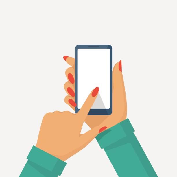여성 손 전화 - hand holding phone stock illustrations