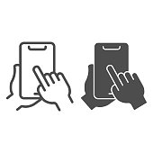 Phone in hand line and solid icon, smartphone review concept, hand holding mobile touching screen sign on white background, finger tapping on smartphone screen icon in outline style. Vector graphics