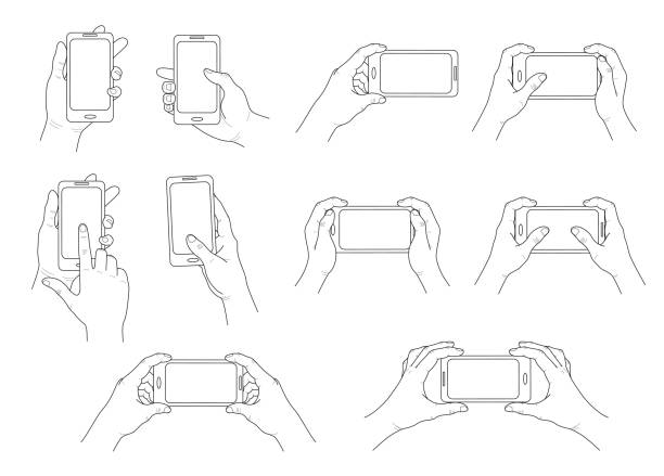 Phone in hand. Set of different gestures. Isolated  contour. Vector Phone in hand. Set of different gestures. Hands holding phone, tablet, smartphone.  Isolated  contour. Vector hand holding phone stock illustrations