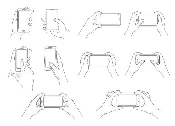 손에 전화. 다른 제스처의 집합입니다. 격리 된 윤곽선입니다. 벡터 - hand holding phone stock illustrations