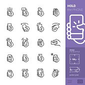 """Basic phone movements and gesticulation commands. 20 Hold the Phone and interaction """"Linear style"""" vector icons pack."""