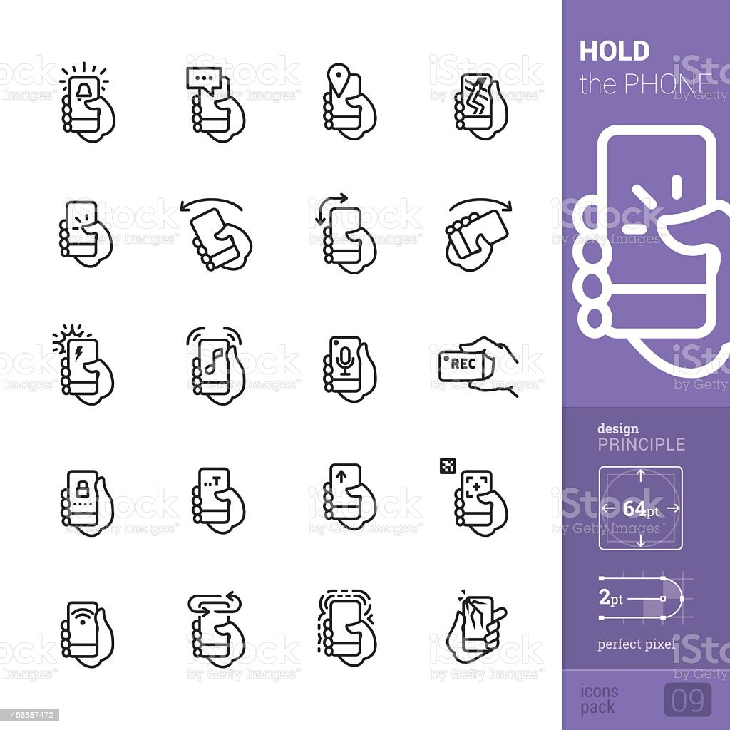 Phone interaction vector icons - PRO pack vector art illustration